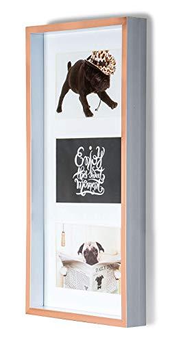 levandeo Bilderrahmen Collage Kupfer Rose Weiß 3 Fotos 10x15cm Fotorahmen Glas Vintage Retro Design