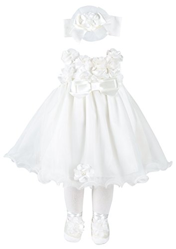 Taffy Baby Christening Baptism 3D Flower Dress Gown 6 Piece Deluxe Set 0-3 Months