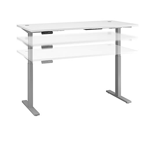 Bush Business Furniture Move 60 Series Height Adjustable Standing Desk, 72W x 30D, White with Cool Gray Metallic Base