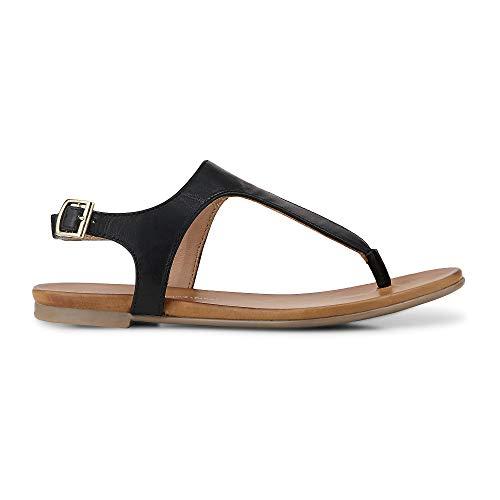 Cox Damen Zehentrenner aus Leder im modernen Look, Riemchen-Sandale in Schwarz mit Flexibler Laufsohle  Schwarz Leder 39