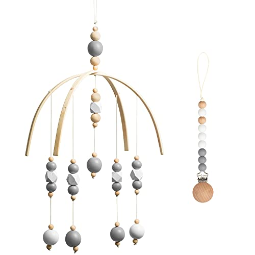 Adorable Baby Mobile Toys Silicone Pacifier Clip Baby Wind Chimes Teething Clips Infant Ceiling Mobiles White Grey Wooden Natural Toys Toddlers Nursing Accessories for Baby Boys Girls