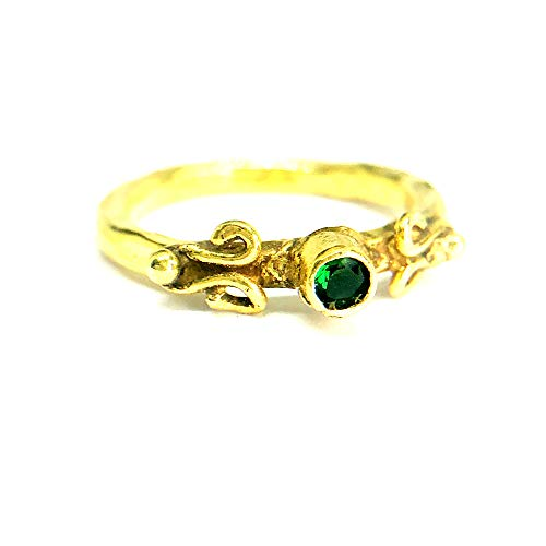 izmirjewelry Handmade Lab Created Emerald Ring 24K Gold Over 925K Sterling Silver