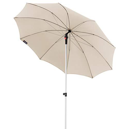 Knirps Sonnenschirm Manual - Eleganter, sehr Leichter Gartenschirm - Stufenlos knickbar - Starker UV-Schutz - 220 cm - Natur