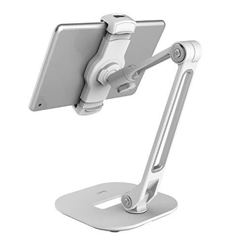 Stander fur iPad Desktop Tablet Halterung mit schwerer Basis und 2 stufigem Metallarm fur 119 279 cm Tablets E Reader und Smartphones weis