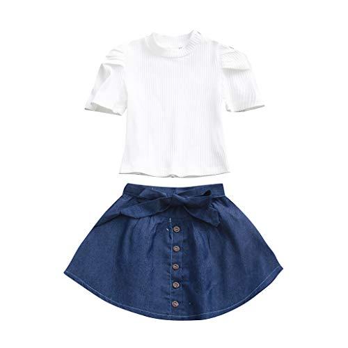 Moneycom❤Ensemble de Hauts à Manches Courtes en Coton Solide pour bébé Fille + Jupe en Jean Blanc(18-24 Mois)