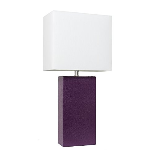 Elegant Designs LT1025-EGP Modern Leather Table Lamp with White Fabric Shade, Purple