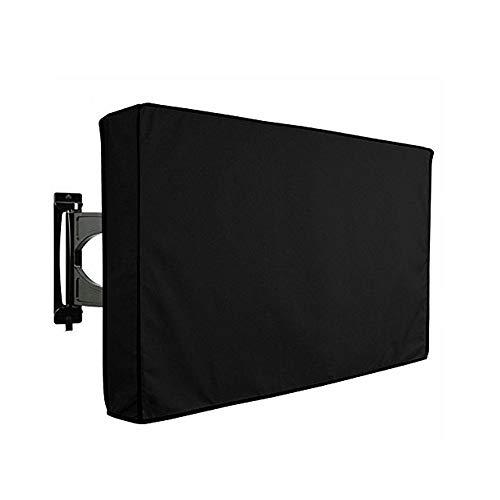 Cubierta de TV para exteriores 600D Oxford resistente a la intemperie con solapa frontal transparente cubierta inferior a prueba de polvo protege la cubierta de TV LCD (22-24 pulgadas)