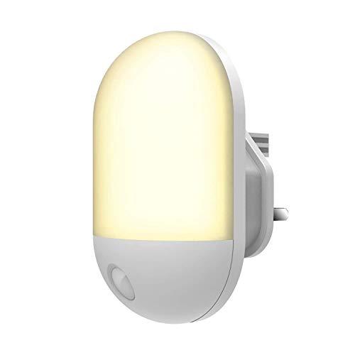 YANGSANJIN Luz Nocturna infantil, Lampara Nocturna Enchufe Con Sensor de Luz Automático, Habitación Bebé, Dormitorio, Sala, Garaje, Baño, Pasillos, Cocina