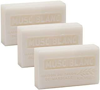 French Soap, Set of 3 x 125g - White Musk - Shea Butter - La Maison du Savon de Marseille