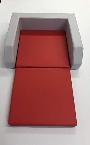 Krippenbett mit Einstieg grau/rot