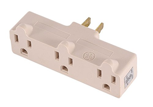 GE Heavy Duty 3 Outlet Adapter, Power Outlet Splitter, Grounded Wall Tap, UL Listed, Light Almond, 54203