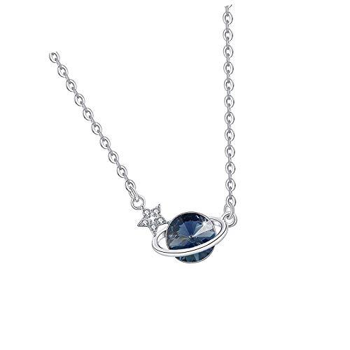 Collar con colgante de planeta con estrella para niñas/mujer, hecho con cristal azul
