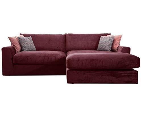 Cavadore Ecksofa Fiona mit Recamiere rechts/Große Eckcouch inkl. Rückenkissen im modernen Design / 277x90x199 / Webstoff Rot