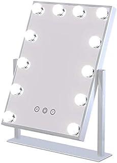 مرآة هوليوود للمكياج المضاءة مع 12 مصباح ليد، قابلة لتعديل سطوع الضوء واللون 3 ألوان، مرآه تجميل مكبرة بمقياس 1x10x، أبعاد...