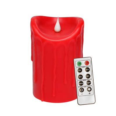 Christmas Remote Control Tear Wave Shaped Swinging LED Electronic Flameless Red Candles Tea Light Moving Wick Candles - 1PC