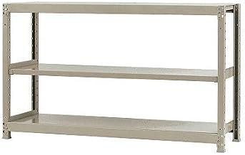 スチールラックのキタジマ 軽中量棚150kg 単体 幅150×奥行45×高さ90cm 3段 アイボリー 150kg/段