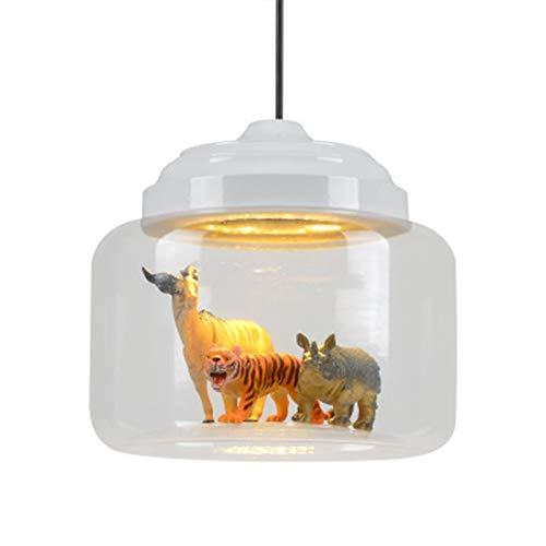 Candelabros de Vidrio de Dibujos Animados nórdicos, ventanales creativos para cafés y aulas, candelabros LED de Animales para Dormitorio