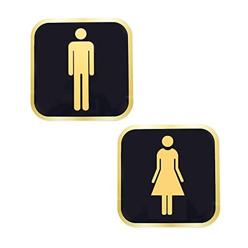 TIANLIN 2 Piezas Letreros de Baño para Hombres y Mujeres, con Pegatinas Adhesivas de Pared, Carteles de Baño, Hechos de Plástico Rígido, Adecuados para Hoteles, Tiendas, Centros Comerciales