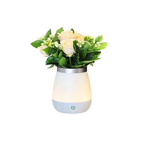 JINGRU Creative Touch Vase Nachtlicht Schlafzimmer Nachtisch Dimmbare Leuchtstofflampe Rose Topf Blume Feuerlampe