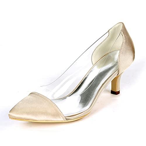 Mujer Zapatos De Novia Tacón De Gatito Dedo Puntiagudo Sandalias De Boda...