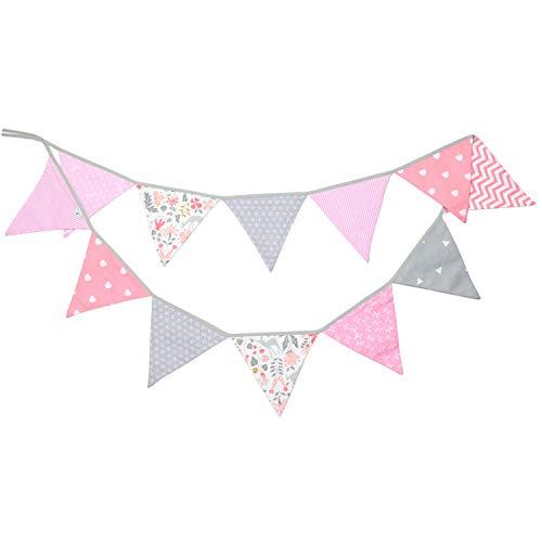 PREMYO Banderines de Tela Infantiles - Guirnaldas Decoración Habitación Bebé Niña - Triángulos Colores Rosa Gris