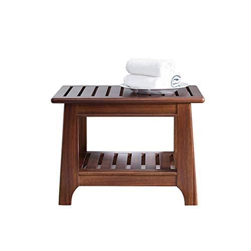 ZWH-Shower Bench Bathroom Teak Bath Stool, Waterproof Non-Slip Anticorrosive Shower Stool,40cm Shower Chair