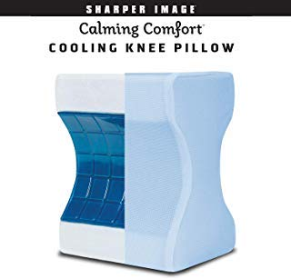 Calming Comfort Cooling Knee Pillow by Sharper Image- Memory Foam with Cooling Gel- Helps Side Sleepers Align Spine
