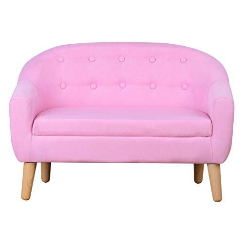 Kids Sofa,Linen Fabric 2-Seater Upholstered Couch,Perfect for Children Gift(30-Inch) (Pink)