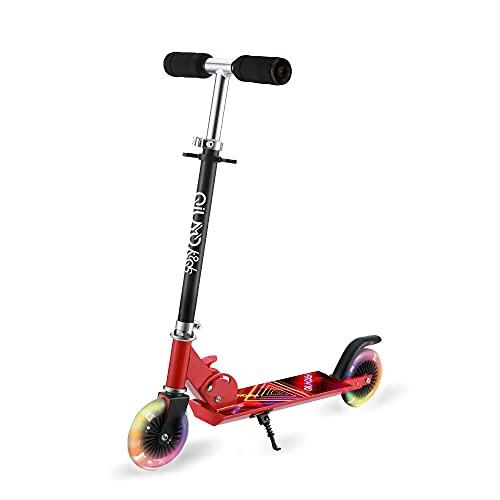 Patinete 2 LED Ruedas para 3 a 12 Años Niño Patinete, Diseño Plegable, 3 Alturas Ajustables Manillar, para Niñas y Niños, Carga Máxima de 100kg (Rojo)