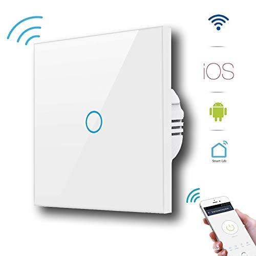 Alexa Lichtschalter GoKlug Smart Home WLAN Lichtschalter Alexa Google Home APP Fernbedienung Lichtschalter Alexa Wechselschalter, Smart Switch Wifi Lichtschalter Glas Touch Innen 1 Weg