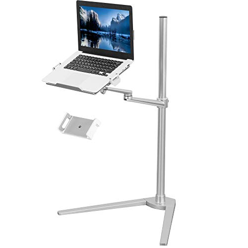 VIVO Aluminum Laptop Floor Stand for 4 to 14 inch Mobile Phones & Tablets, 12 to 17 inch Laptops, Height Adjustable 360 Degree Rotating Arm with Ventilated Tray, Silver STAND-LAP1F