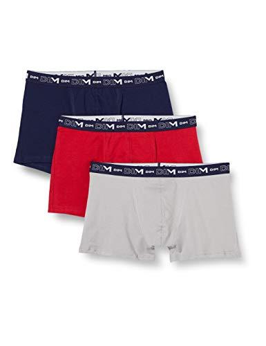 Dim Herren Boxer Coton Stretch X3 Boxershorts, Denimblau/Rot Topas/Stahl, XXL