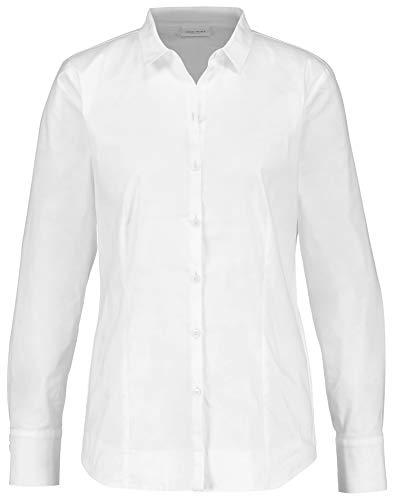 Gerry Weber Damen Hemdbluse Mit Stretchkomfort Figurumspielend weiß/weiß 42