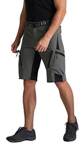 GreatestPAK Outdoor Wandershorts Herren Einfarbig Cargoshorts Freizeit Taschen Kurze Arbeitshosen Sport Pants,Armeegrün,L