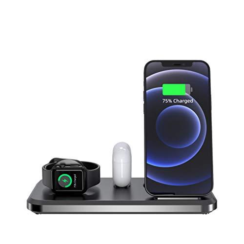 ALLWIN 2021 Nuevo 3 En 1 Cargador Inalámbrico, 15W Qi Soporte De Cargador Rápido para iPhone 12 Mini Pro MAX 11 Pro MAX XS XR X 8 Plus para Airpods Apple Watch 6 5 4 3 2
