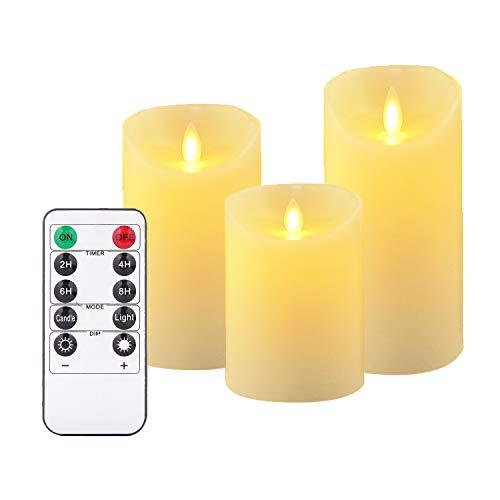 OSHINE candele a LED, Senza Fiamma Candele, 300ore (10,2 cm 12,7 cm 15,2 cm, Je Ø 8 cm) 10 tasti del telecomando con funzione di timer 24 ore, Giallo [Classe di efficienza energetica A]