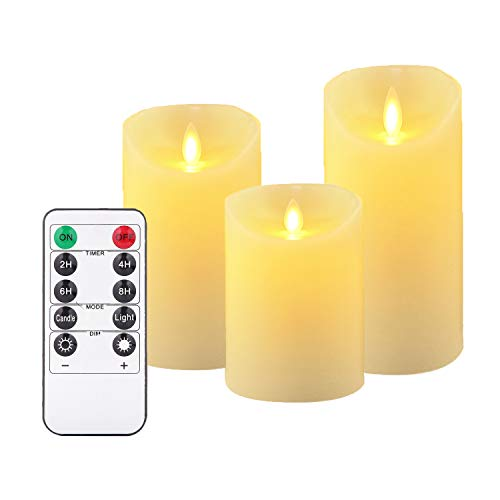Antizer LED Candles, Flameless Candles, 180 Hour Decorating Pillars, Set of 3, 10 Buttons Remote Control with 24 Hour Timer Function (3 * 1, Ivory)