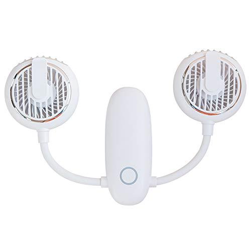 Ventilador Portátil del Cuello, Batería Larga Operada por La Vida Útil Ultra Silencioso Manos USB Fan 360 ° Ajustable Alta Flexibilidad Portátil Portátil Ventilador Personal,Blanco