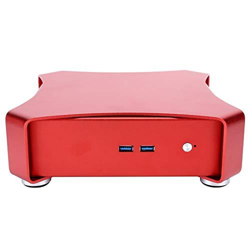 Micro ITX Tower Case, Mini Gaming PC Case, Desktop Computer Gaming Case Mini HTPC ITX All Aluminum USB3.0 Small for Desktop Gaming Computer(Red)