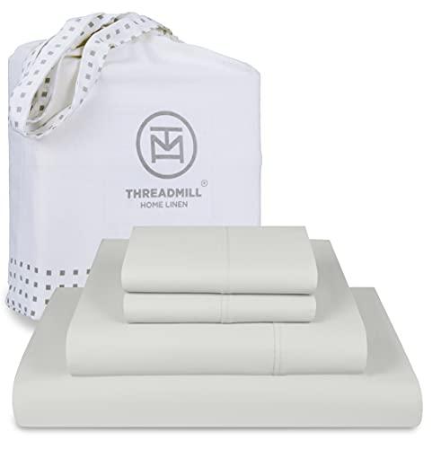 Threadmill Home Linen Queen Sheets - Pure Long Staple Cotton Sateen...