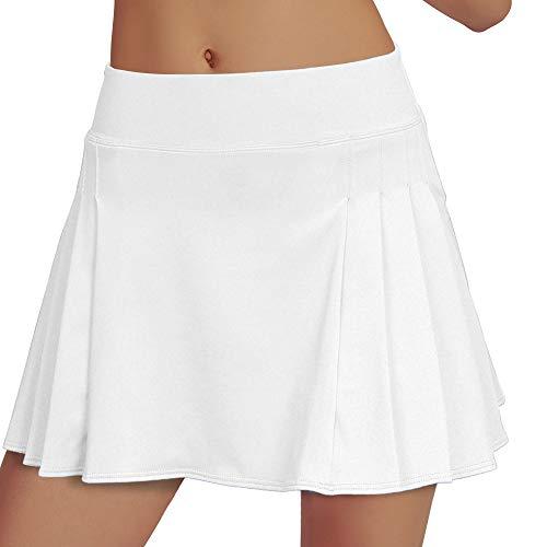 RainbowTree Women's Pleated Tennis Skirt Elastic Quick-Drying Skort with Side Inner Pocket Running Short, White, Small