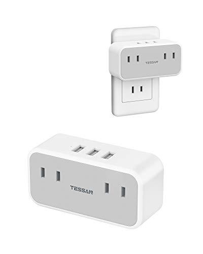 USBコンセント タップ TESSAN 電源タップ 2個AC口 USBポート×3 たこあしコンセント 分岐 充電タップ マルチタップ 直挿しタップ