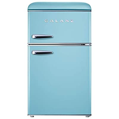 Galanz GLR31TBEER Retro Compact Refrigerator, Mini Fridge with Dual Doors, Adjustable Mechanical Thermostat with True Freezer, 3.1 Cu.Ft, Blue