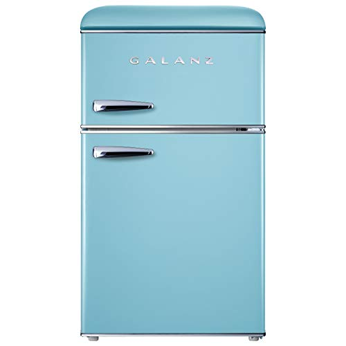 Galanz GLR31TBEER Retro Compact Refrigerator, Mini Fridge with Dual Doors, Adjustable Mechanical Thermostat with True Freezer, 3.1 Cu FT, Blue