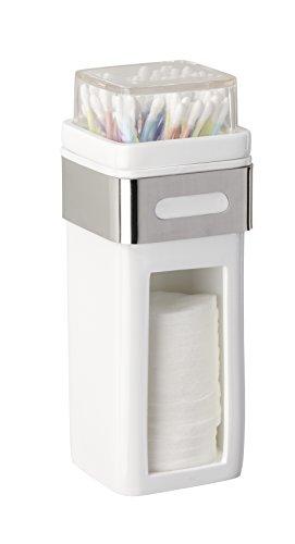 WENKO 22777100 Wattepad- und Ohrstäbchenhalter Premium Plus, Wattepadspender, Wattestäbchenhalter, Edelstahl rostfrei, 7.5 x 18.5 x 9 cm, Glänzend