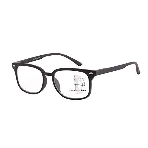Leesbril Dual-use Anti-blauw leesbril mannen lopen kan rijden met progressieve multifocale Old Glasses Frame Leesbrillen (Color : Black, Size : +350)
