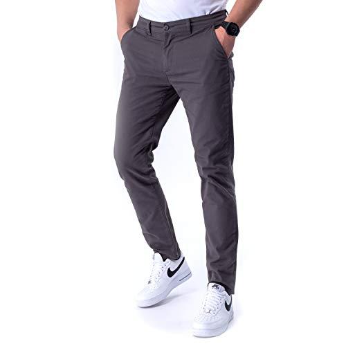 Burnell & Son Designer Chino Hosen Herren Slim Fit und Stretch aus atmungsaktiver Premium Twill Baumwolle Anthrazit, 31/32