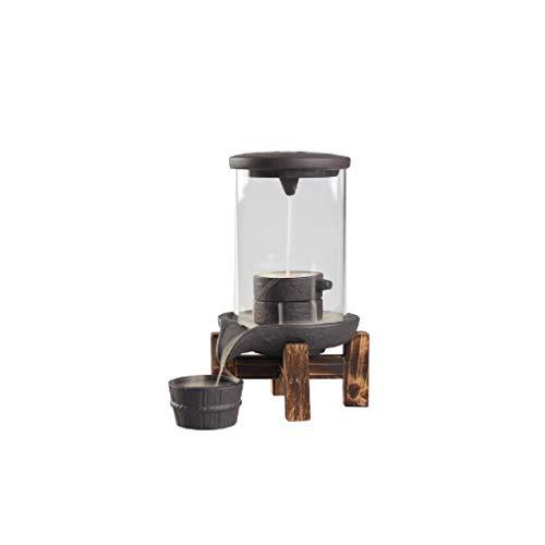 DXJFT Quemador de incienso de cerámica, quemador de incienso de arcilla morada, para decoración del hogar, molino de piedra cascada