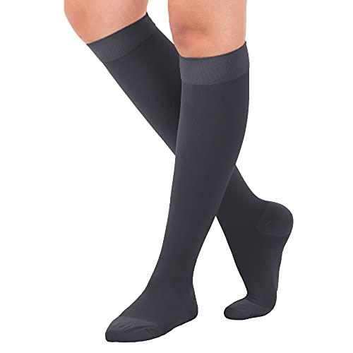 Made in USA Opaque Compression Socks Knee-Hi Closed Toe 20-30mmHg Grey Medium