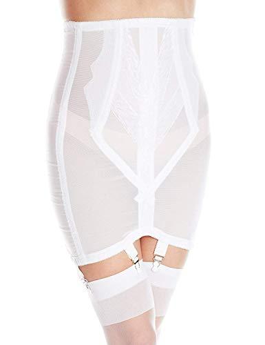 Rago Women's Plus-Size High Waist Open Bottom Girdle with Zipper, White, 4X-Large (38)